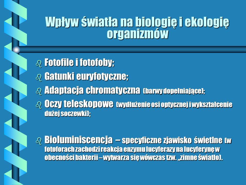 Wpływ światła na biologię i ekologię organizmów