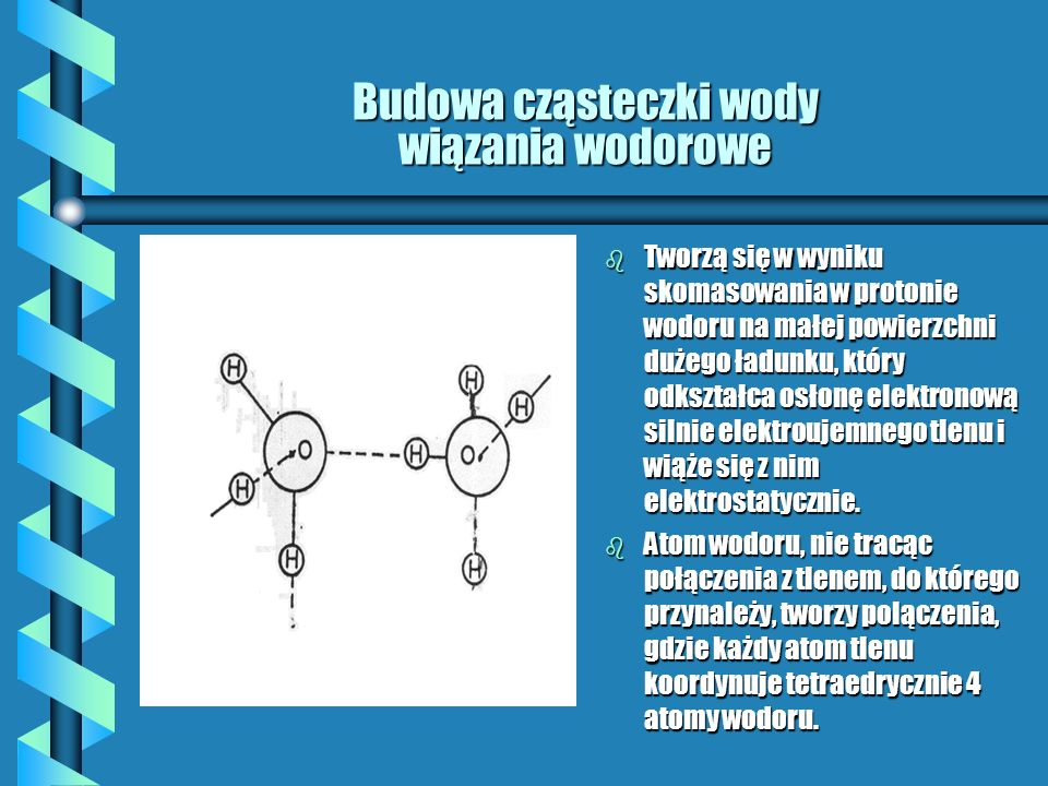Budowa cząsteczki wody wiązania wodorowe