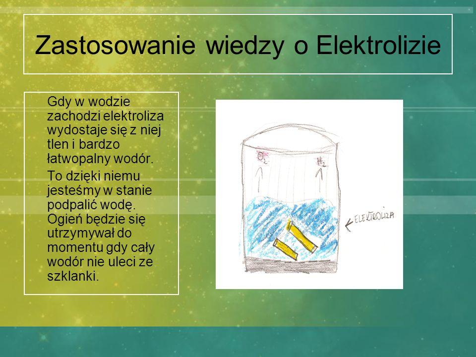 Zastosowanie wiedzy o Elektrolizie