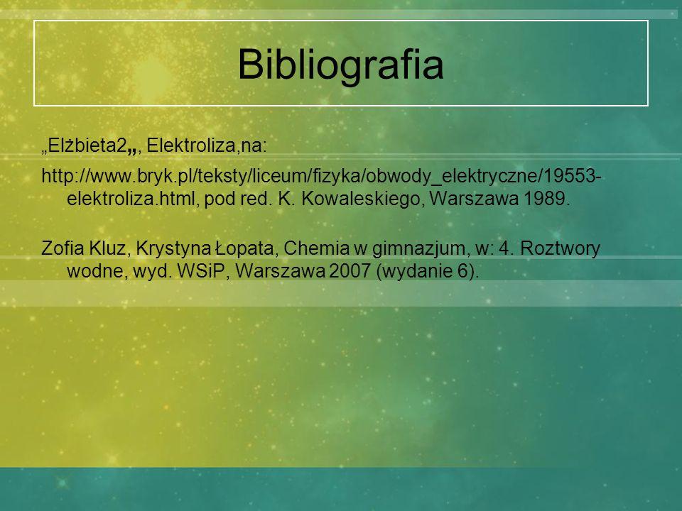 "Bibliografia ""Elżbieta2"", Elektroliza,na:"