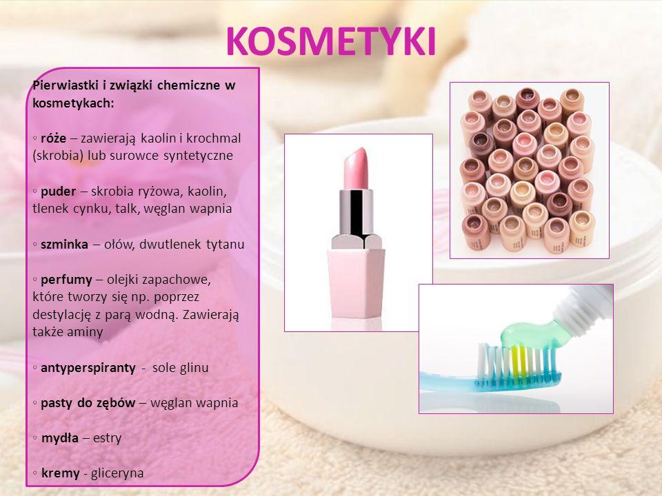 KOSMETYKI Pierwiastki i związki chemiczne w kosmetykach: