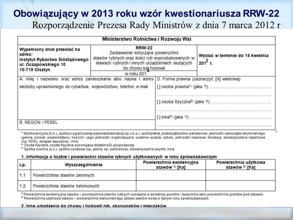 Obowiązujący w 2013 roku wzór kwestionariusza RRW-22
