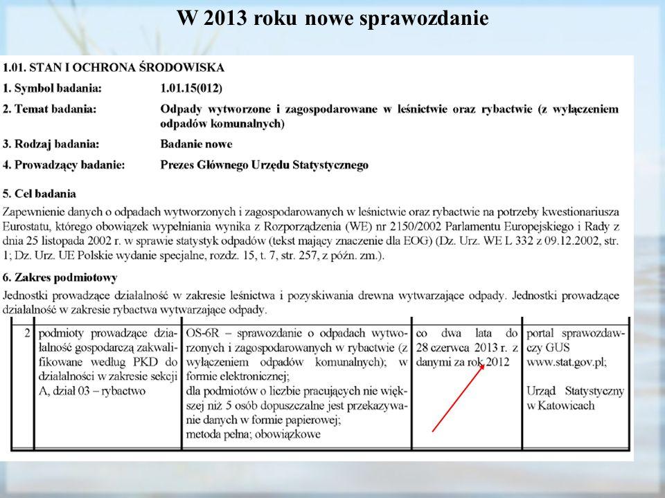 W 2013 roku nowe sprawozdanie
