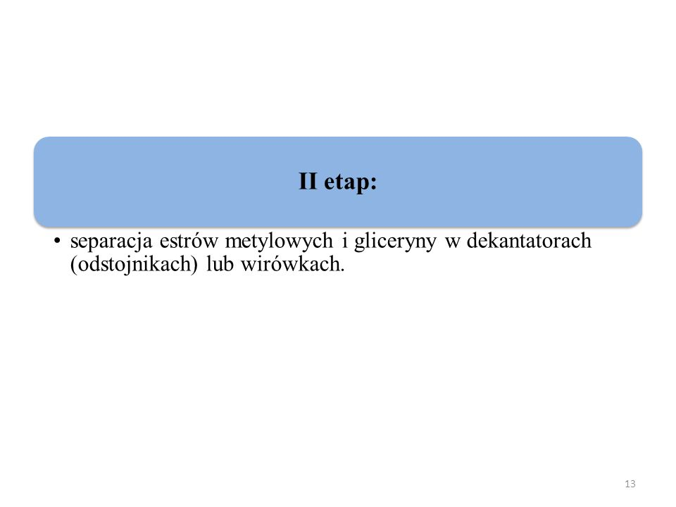 II etap: separacja estrów metylowych i gliceryny w dekantatorach (odstojnikach) lub wirówkach.
