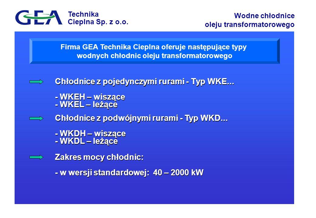 Zakres mocy chłodnic: - w wersji standardowej: 40 – 2000 kW