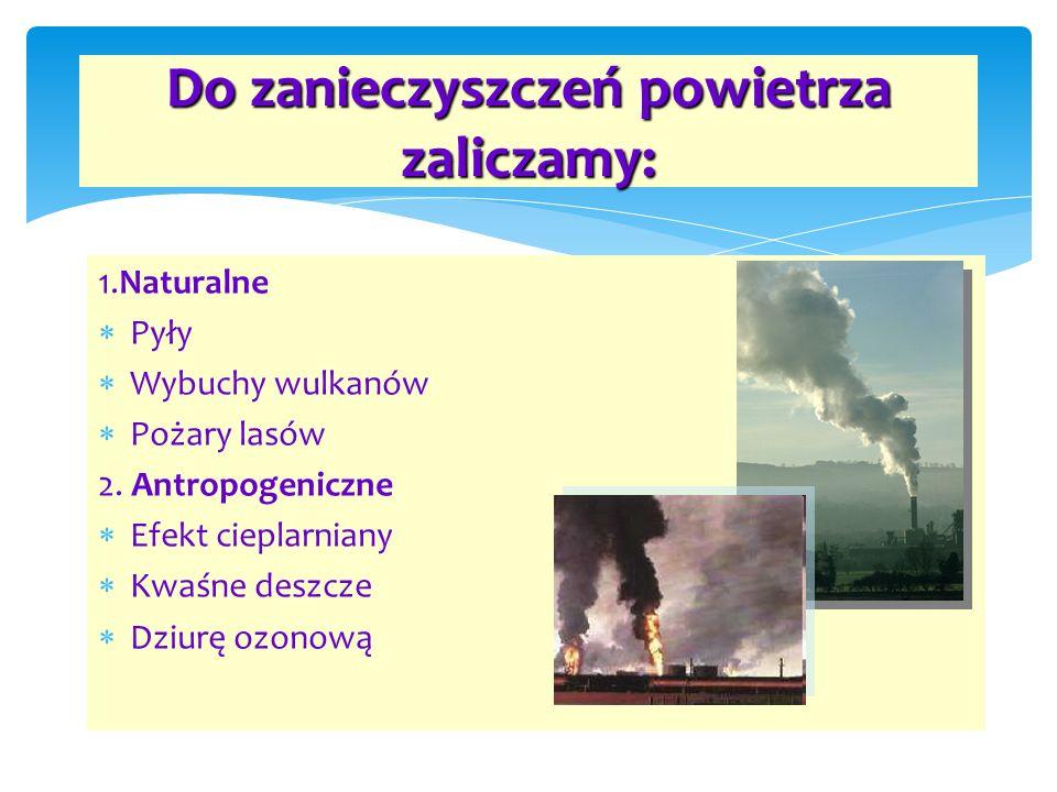 Do zanieczyszczeń powietrza zaliczamy: