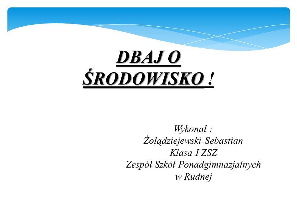 DBAJ O ŚRODOWISKO ! Wykonał : Żołądziejewski Sebastian Klasa I ZSZ
