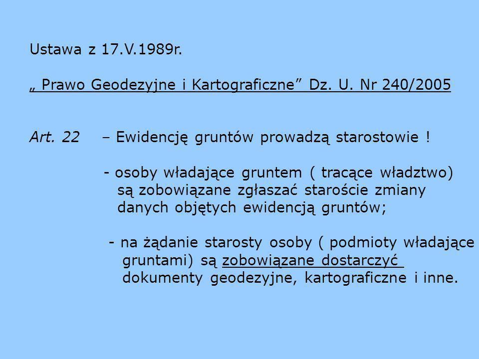 """Ustawa z 17.V.1989r. """" Prawo Geodezyjne i Kartograficzne Dz. U. Nr 240/2005. Art. 22 – Ewidencję gruntów prowadzą starostowie !"""