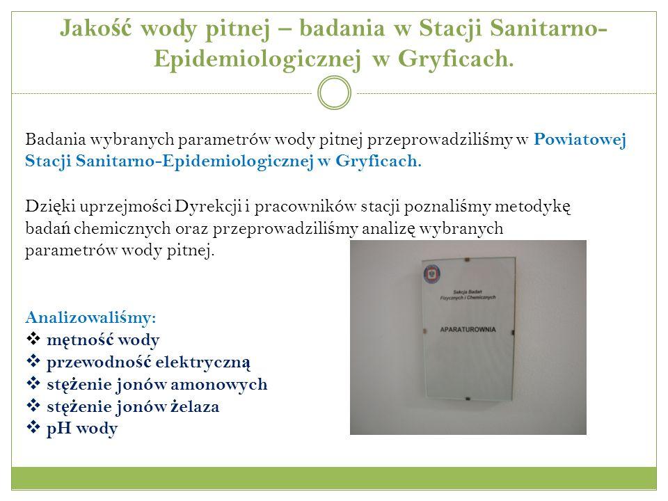 Jakość wody pitnej – badania w Stacji Sanitarno-Epidemiologicznej w Gryficach.