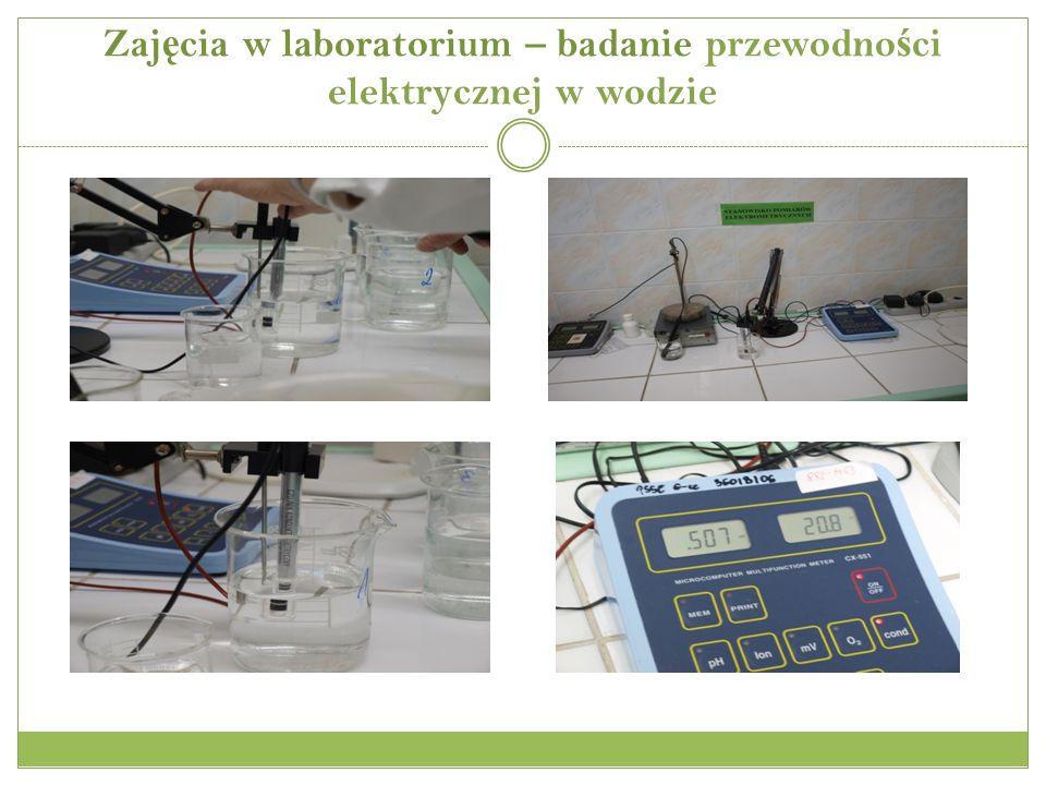 Zajęcia w laboratorium – badanie przewodności elektrycznej w wodzie