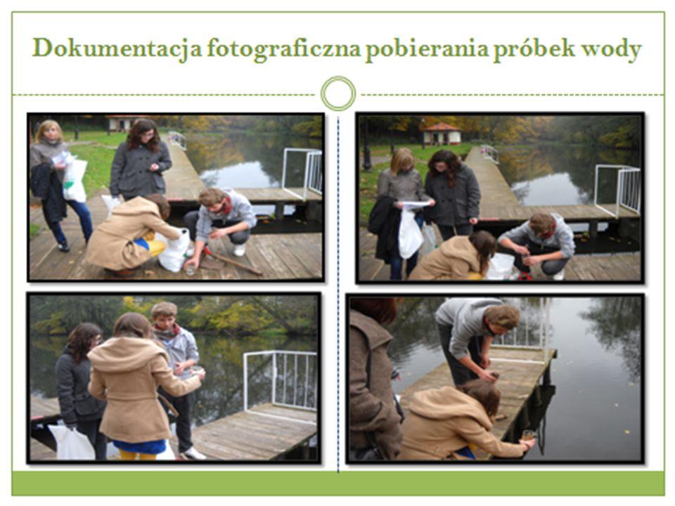 Dokumentacja fotograficzna pobierania próbek wody