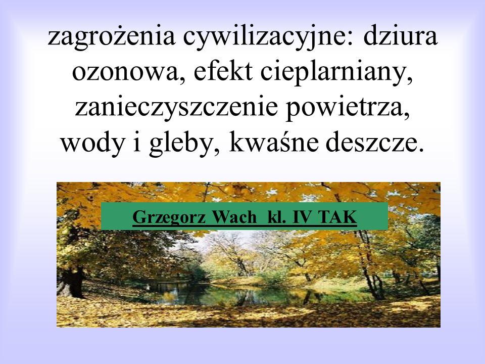 zagrożenia cywilizacyjne: dziura ozonowa, efekt cieplarniany, zanieczyszczenie powietrza, wody i gleby, kwaśne deszcze.