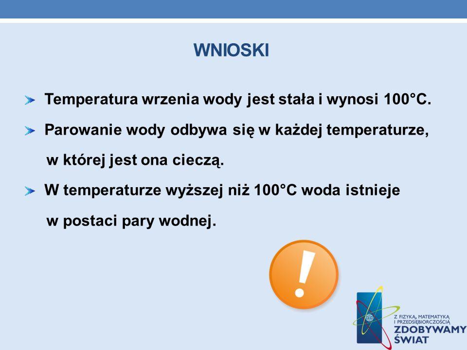 Wnioski Temperatura wrzenia wody jest stała i wynosi 100°C.