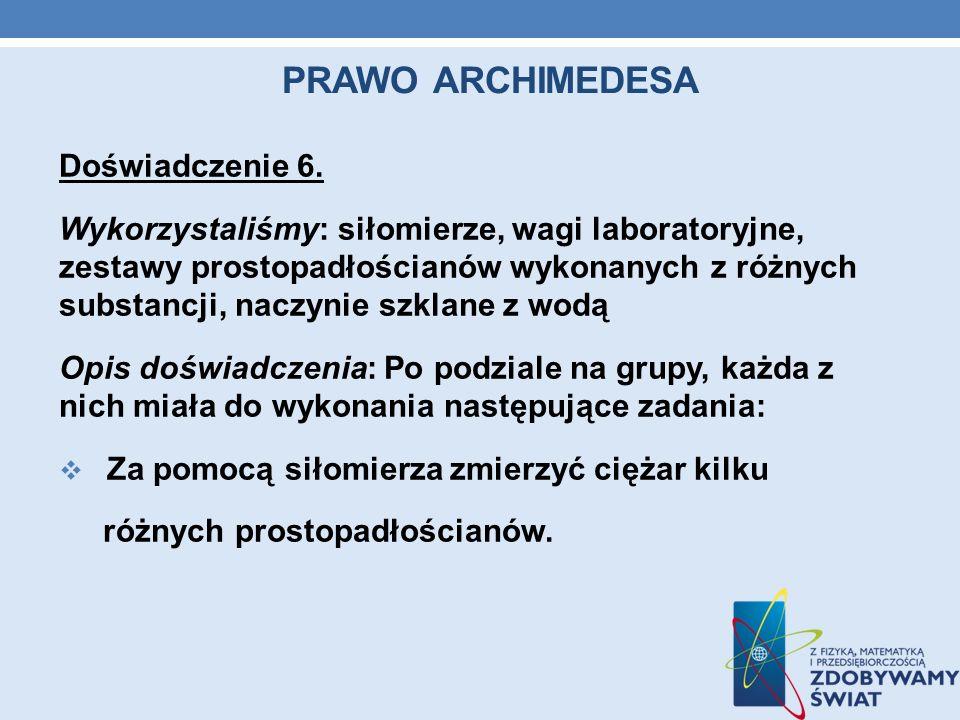 Prawo archimedesa Doświadczenie 6.
