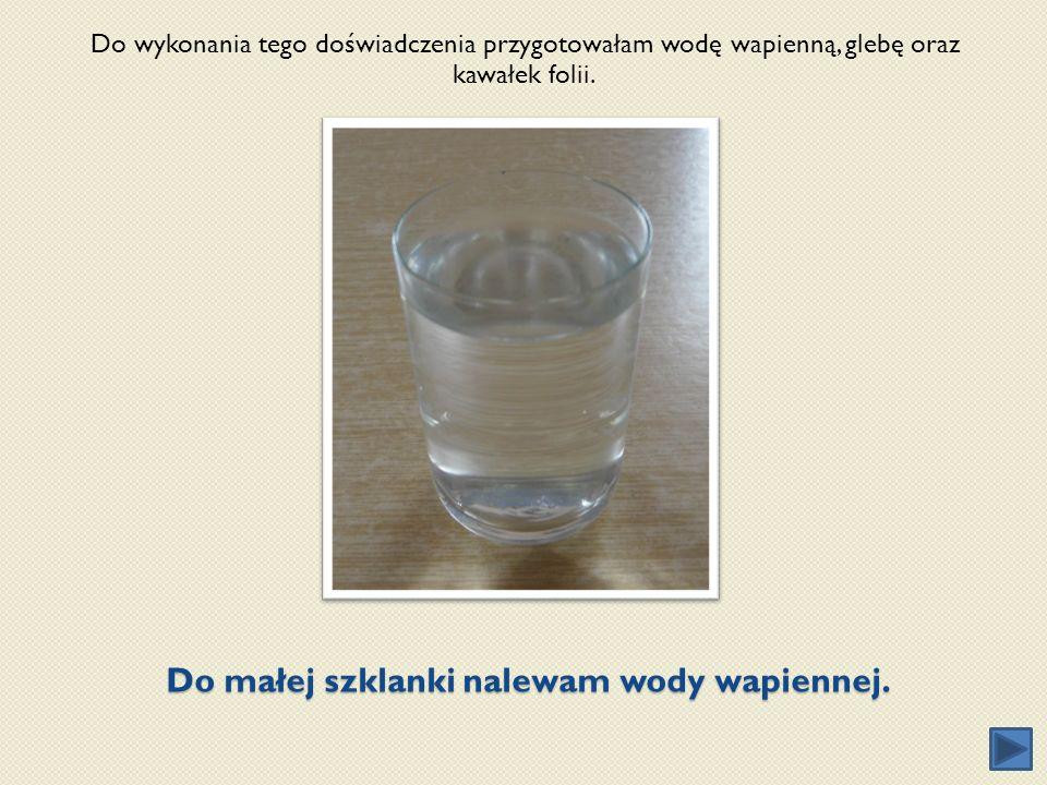 Do małej szklanki nalewam wody wapiennej.