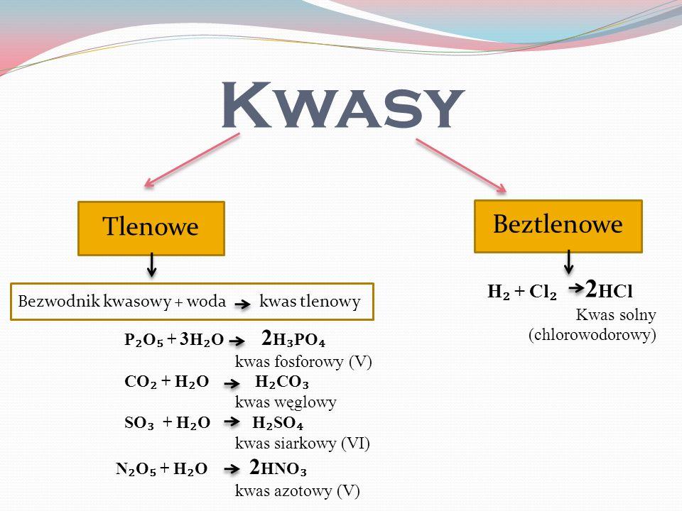 Kwasy Beztlenowe Tlenowe H₂ + Cl₂ 2HCl Kwas solny (chlorowodorowy)