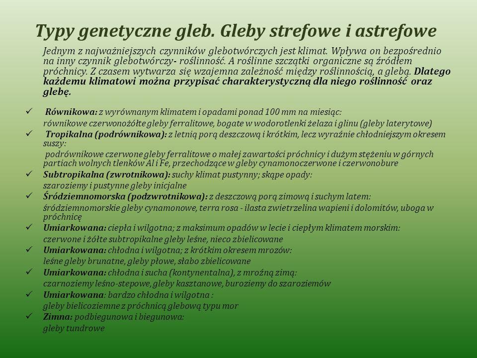 Typy genetyczne gleb. Gleby strefowe i astrefowe