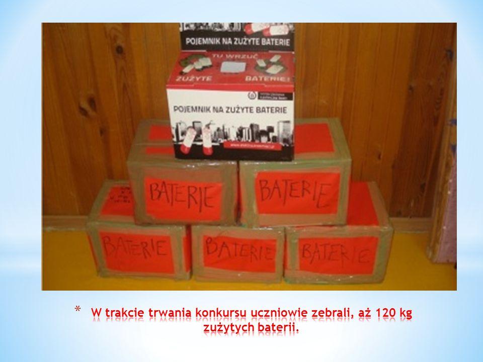 W trakcie trwania konkursu uczniowie zebrali, aż 120 kg zużytych baterii.