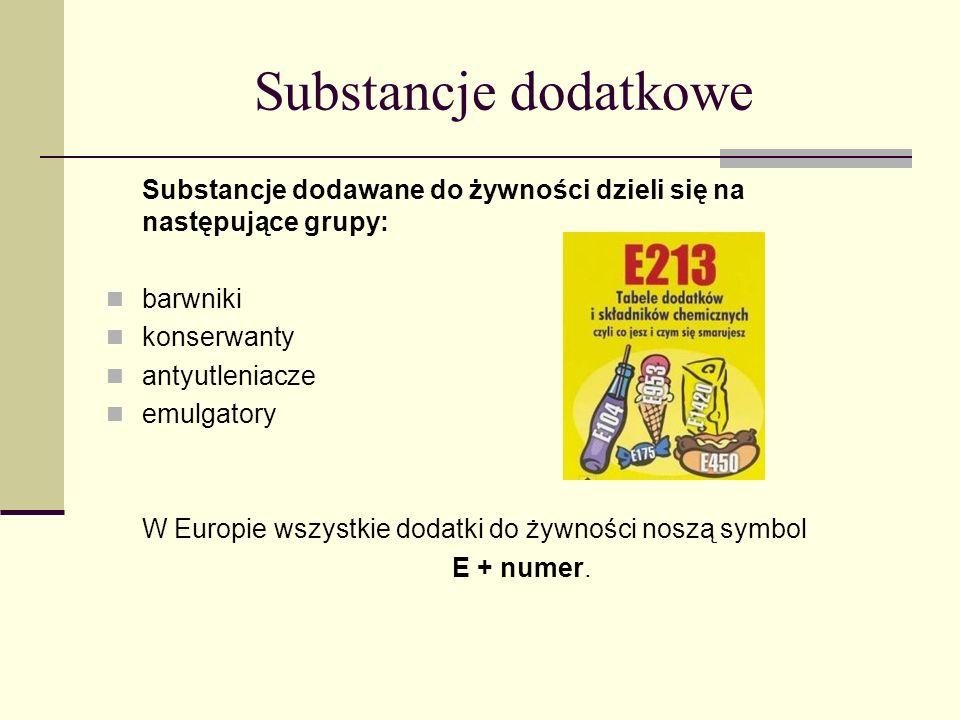 Substancje dodatkowe Substancje dodawane do żywności dzieli się na następujące grupy: barwniki. konserwanty.