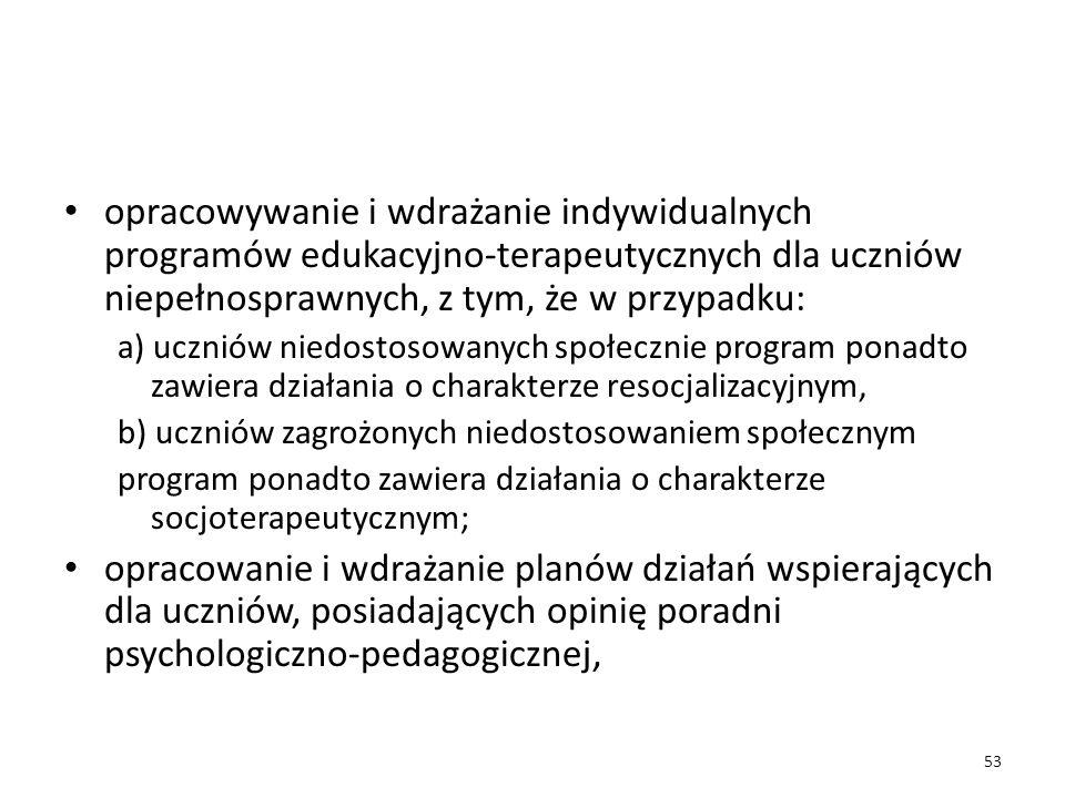 opracowywanie i wdrażanie indywidualnych programów edukacyjno-terapeutycznych dla uczniów niepełnosprawnych, z tym, że w przypadku: