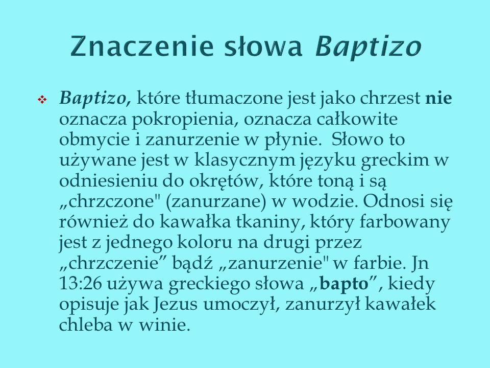 Znaczenie słowa Baptizo