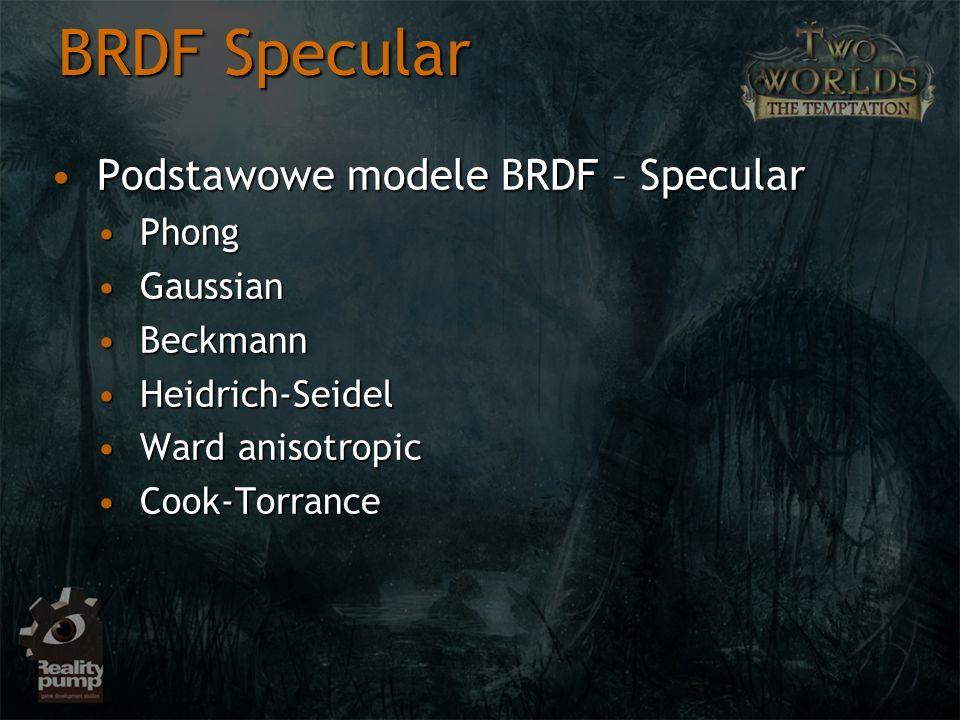 BRDF Specular Podstawowe modele BRDF – Specular Phong Gaussian