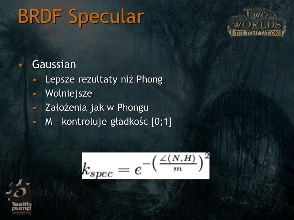 BRDF Specular Gaussian Lepsze rezultaty niż Phong Wolniejsze