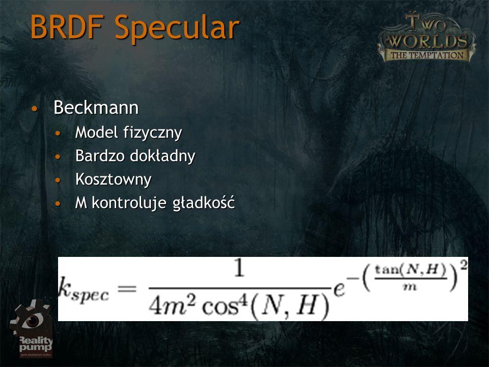 BRDF Specular Beckmann Model fizyczny Bardzo dokładny Kosztowny