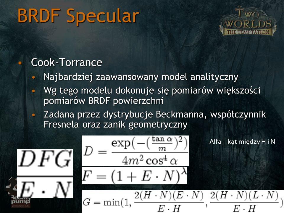 BRDF Specular Cook-Torrance Najbardziej zaawansowany model analityczny