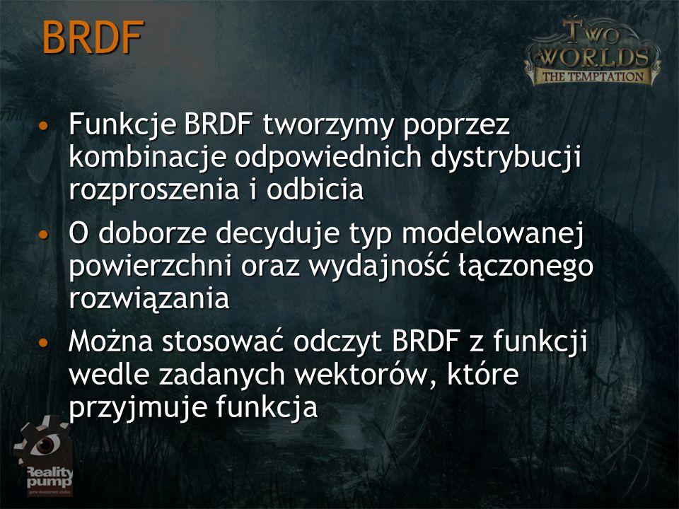 BRDF Funkcje BRDF tworzymy poprzez kombinacje odpowiednich dystrybucji rozproszenia i odbicia.