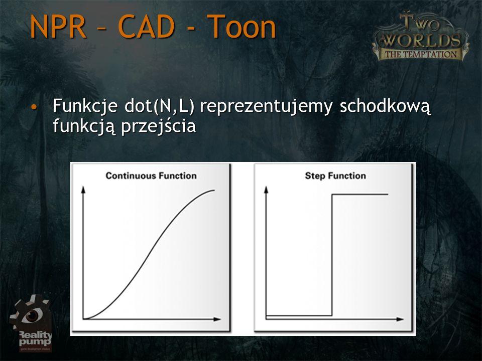 NPR – CAD - Toon Funkcje dot(N,L) reprezentujemy schodkową funkcją przejścia