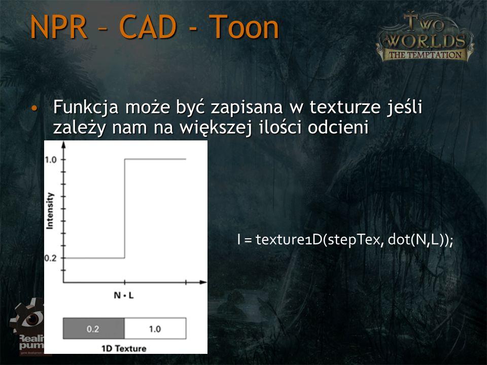 NPR – CAD - Toon Funkcja może być zapisana w texturze jeśli zależy nam na większej ilości odcieni.