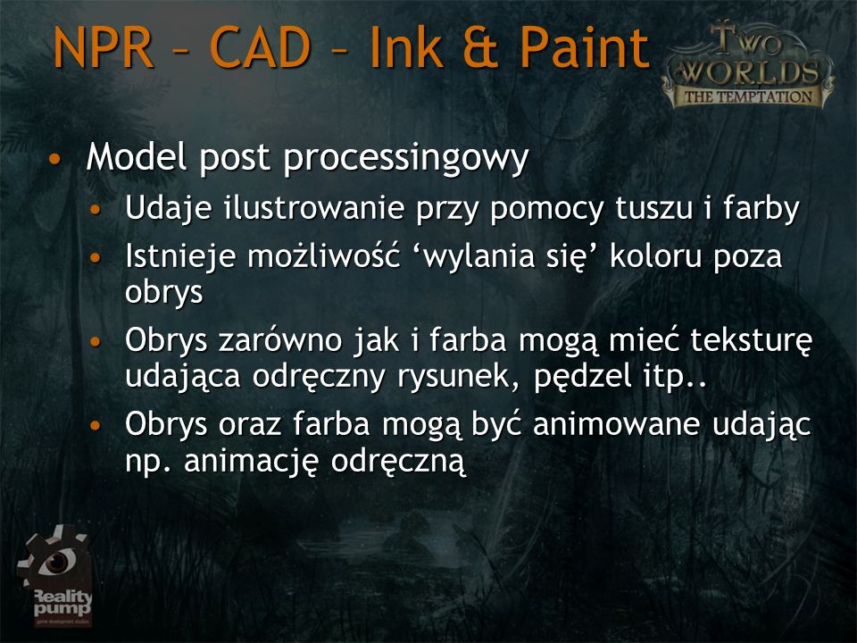 NPR – CAD – Ink & Paint Model post processingowy