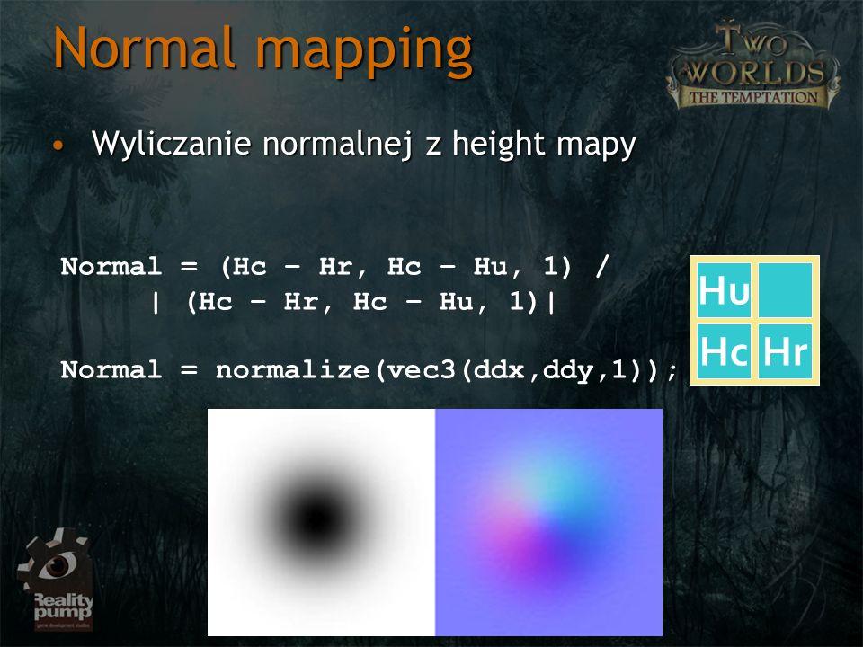 Normal mapping Hu Hc Hr Wyliczanie normalnej z height mapy