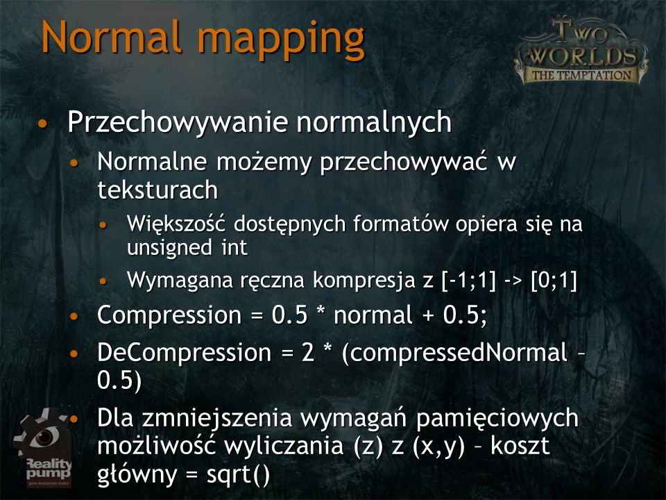 Normal mapping Przechowywanie normalnych