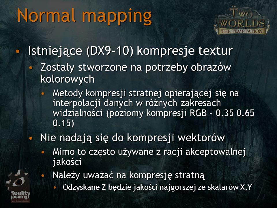 Normal mapping Istniejące (DX9-10) kompresje textur