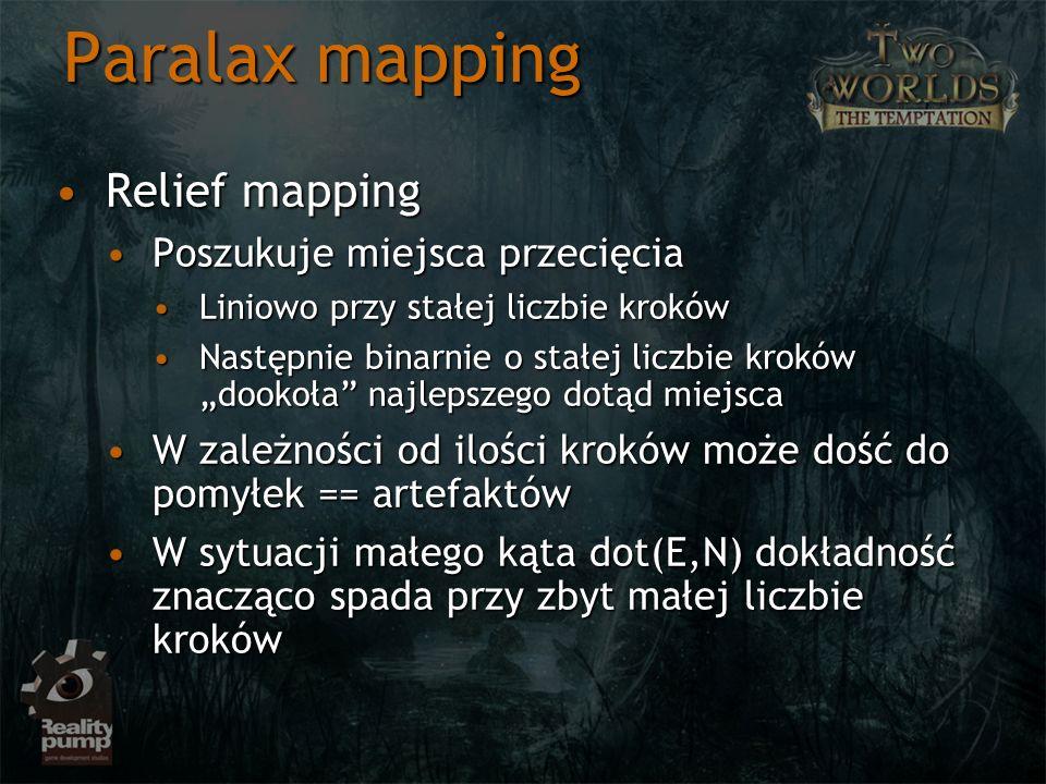 Paralax mapping Relief mapping Poszukuje miejsca przecięcia