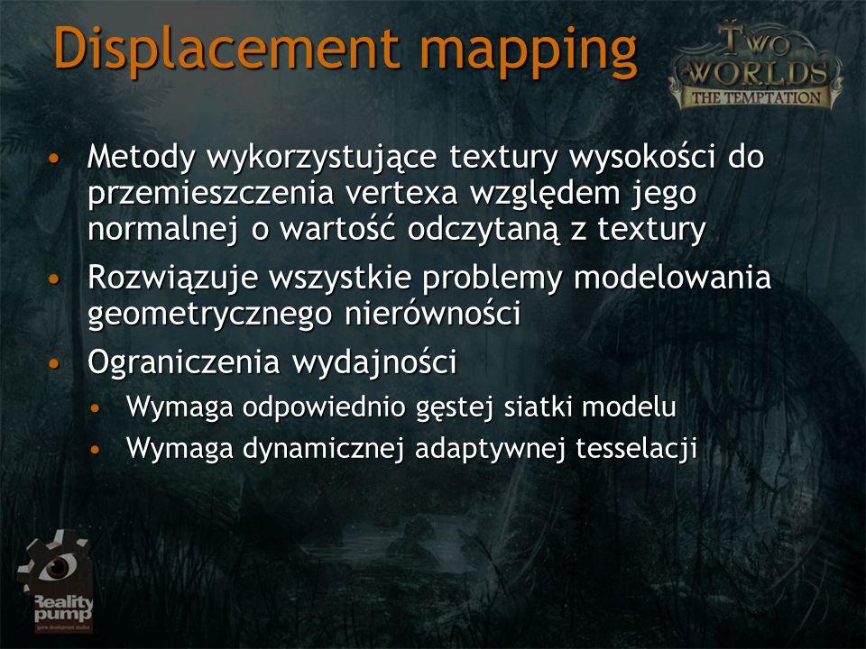 Displacement mapping Metody wykorzystujące textury wysokości do przemieszczenia vertexa względem jego normalnej o wartość odczytaną z textury.