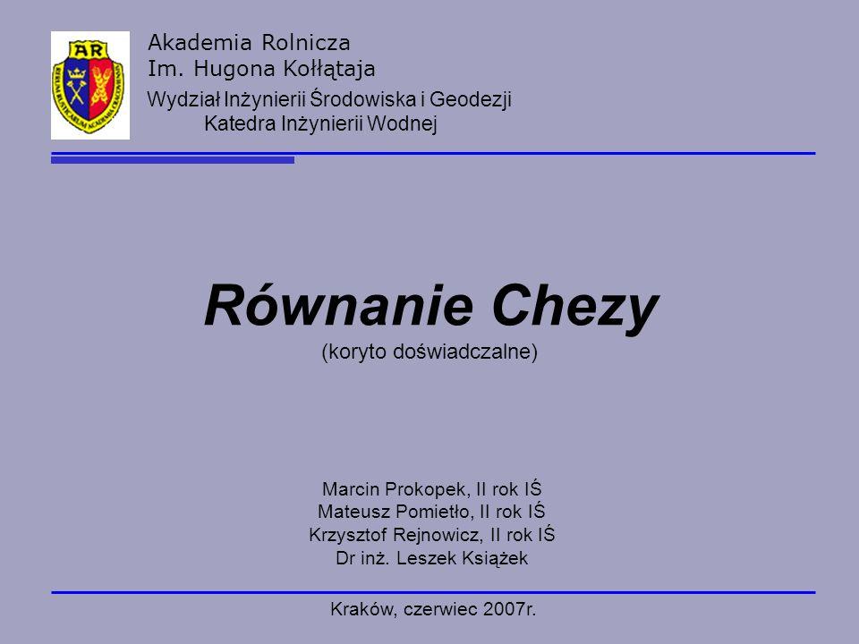 Równanie Chezy (koryto doświadczalne)