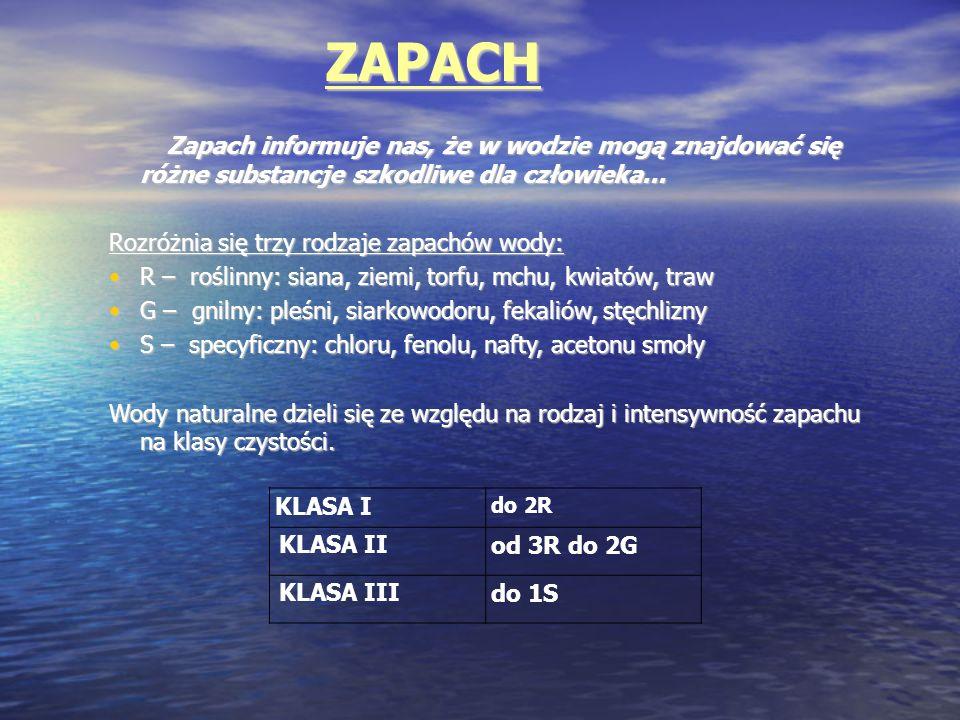 ZAPACH Rozróżnia się trzy rodzaje zapachów wody: