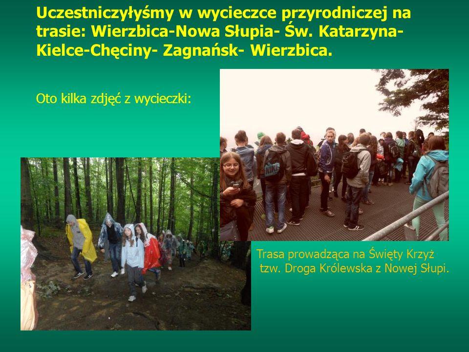 Uczestniczyłyśmy w wycieczce przyrodniczej na trasie: Wierzbica-Nowa Słupia- Św. Katarzyna- Kielce-Chęciny- Zagnańsk- Wierzbica.