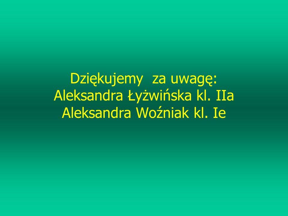 Dziękujemy za uwagę: Aleksandra Łyżwińska kl. IIa Aleksandra Woźniak kl. Ie