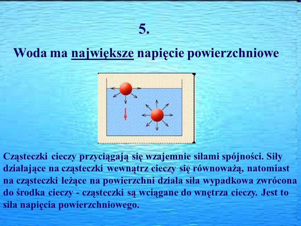 5. Woda ma największe napięcie powierzchniowe