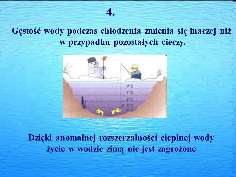 4. Gęstość wody podczas chłodzenia zmienia się inaczej niż