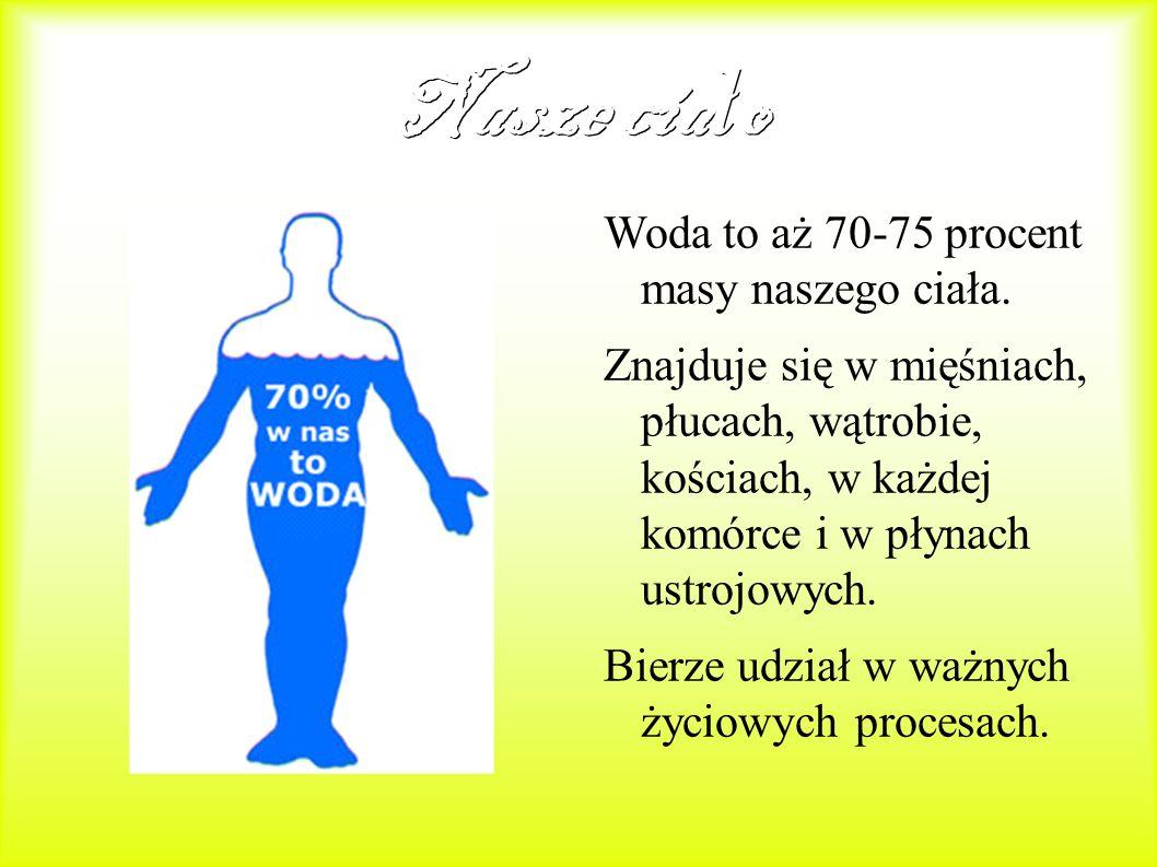 Nasze ciało Woda to aż 70-75 procent masy naszego ciała.