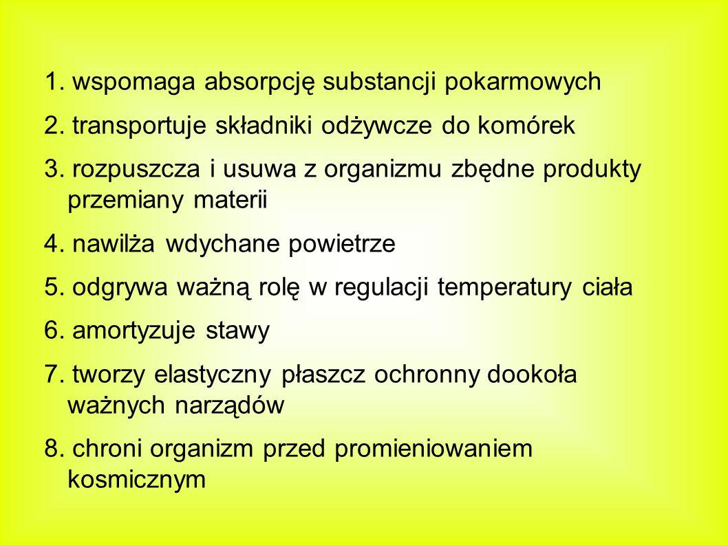 1. wspomaga absorpcję substancji pokarmowych