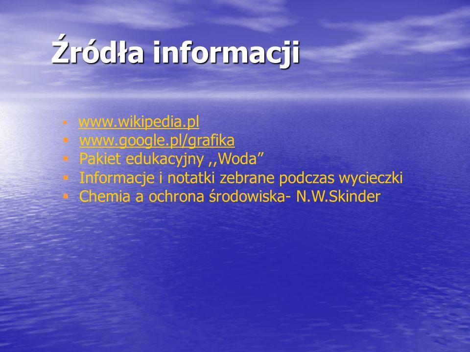 Źródła informacji www.google.pl/grafika Pakiet edukacyjny ,,Woda