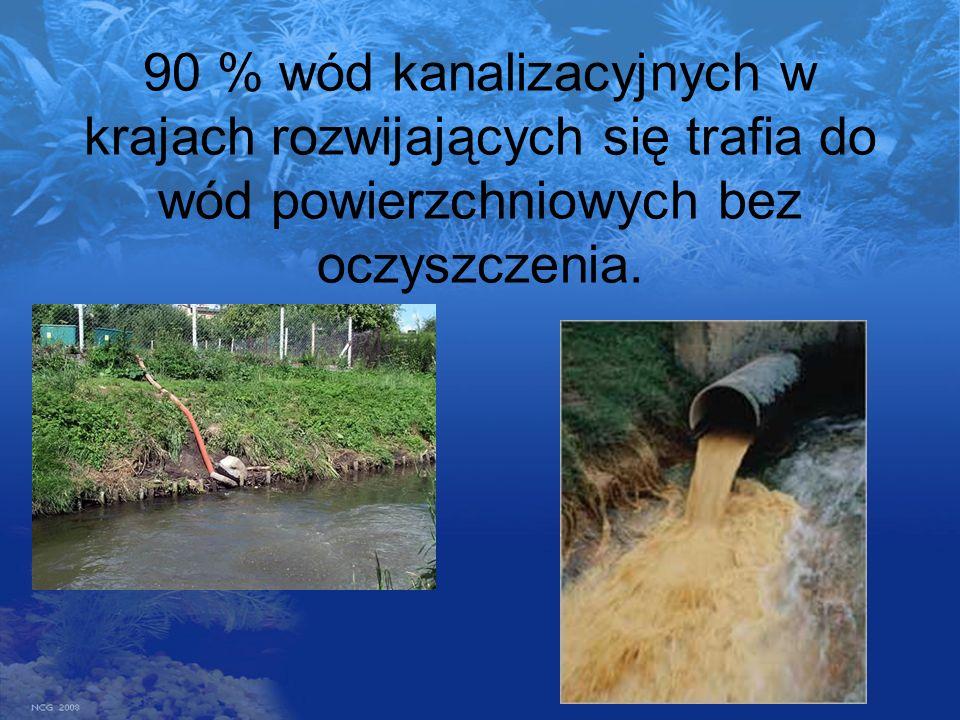 90 % wód kanalizacyjnych w krajach rozwijających się trafia do wód powierzchniowych bez oczyszczenia.