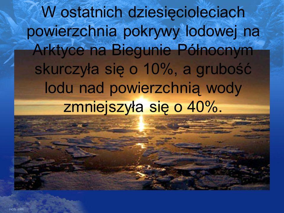 W ostatnich dziesięcioleciach powierzchnia pokrywy lodowej na Arktyce na Biegunie Północnym skurczyła się o 10%, a grubość lodu nad powierzchnią wody zmniejszyła się o 40%.