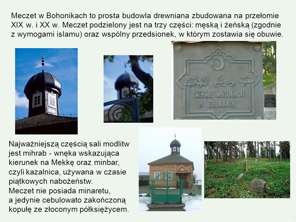 Meczet w Bohonikach to prosta budowla drewniana zbudowana na przełomie XIX w. i XX w. Meczet podzielony jest na trzy części: męską i żeńską (zgodnie z wymogami islamu) oraz wspólny przedsionek, w którym zostawia się obuwie.